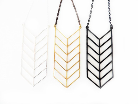 White Feather Designs Chevron Necklace Brass