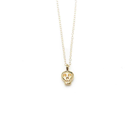 Wolf Circus Skull Necklace Gold