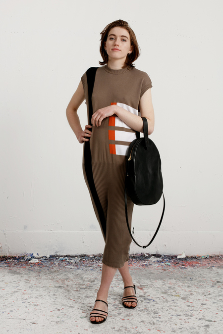 Come for Breakfast - Ribbed Knit Dress - Mud