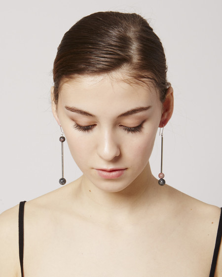 Rue Charlotte Earrings in Grey, Pink & Silver