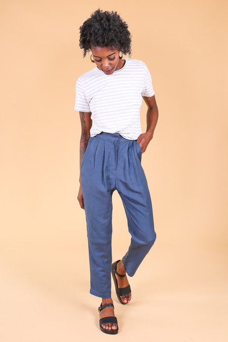 Majestic Striped short sleeve crew in milk/gris chine
