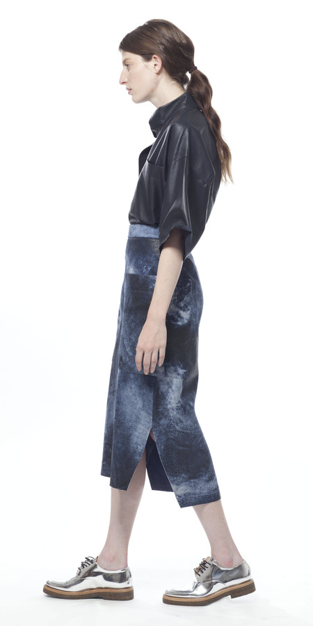 Schai Uti Midi Leather Skirt - Ocean Splash