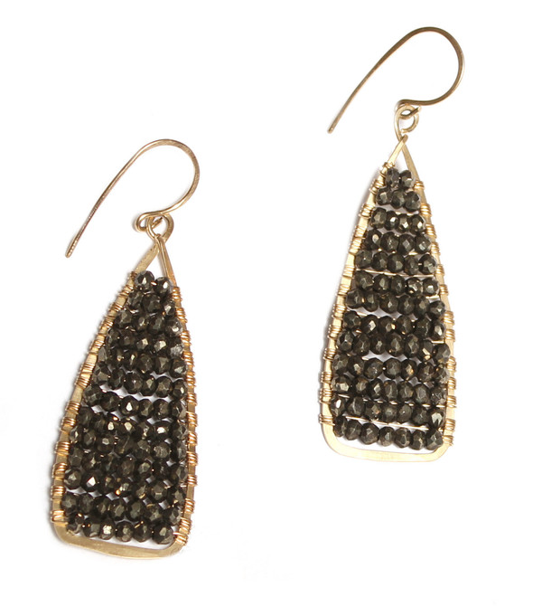 James and Jezebelle Pyrite Wrapped Earrings