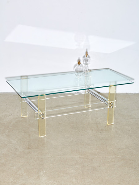 Coming Soon Lucite and Glass Coffee Table