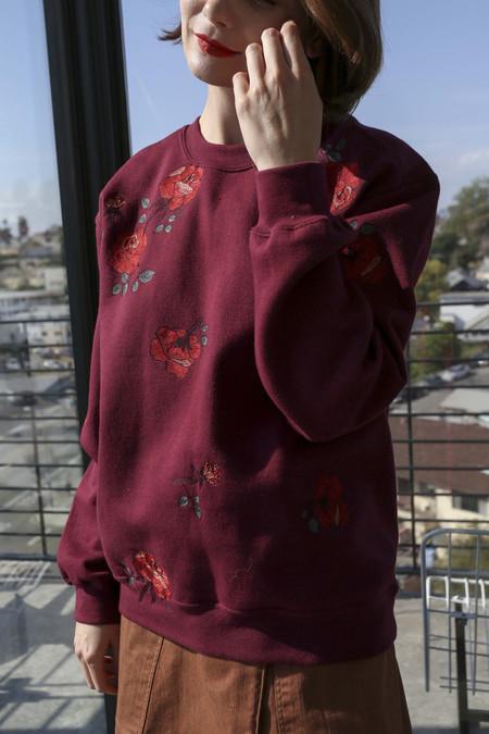 Pari Desai Rose Embroidered Sweater in Maroon