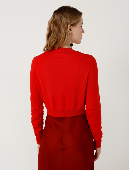 Organic by John Patrick Crop Pullover Red