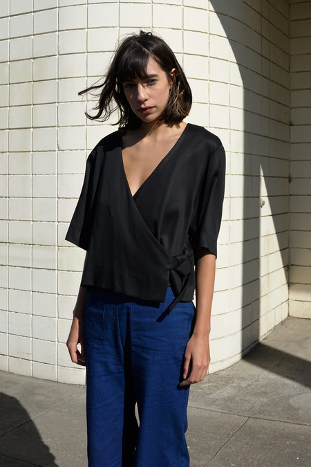 Waltz Studio Kimono Wrap Top in Black