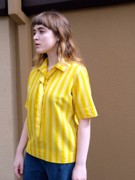 Shop Boswell VINTAGE YELLOW STRIPE PULLOVER TOP