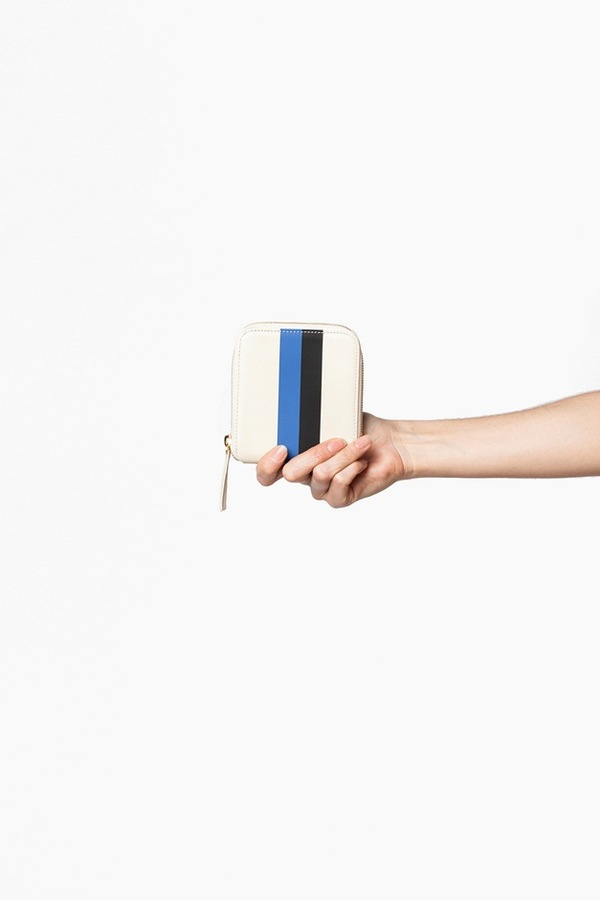 Clare V. Half Zip Wallet-cream stripe