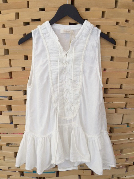 Rabens Saloner Bea Cotton Top in White