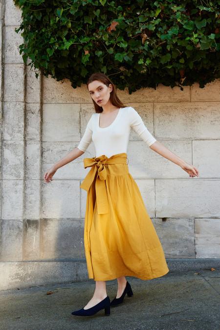 Kamperett Le Tour Silk Linen Paperbag Skirt - Marigold