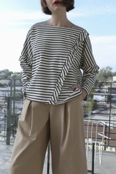 SVILU Dolman Top in Ivory/Navy Stripe