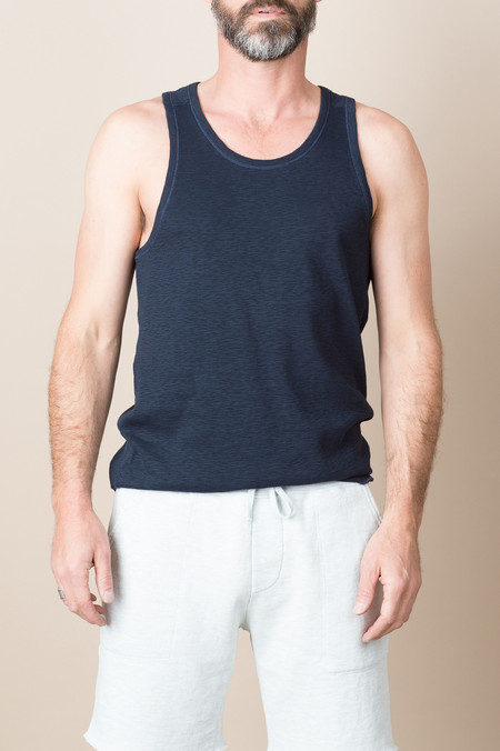 Wings + Horns 1x1 Slub Rib Tank In Navy