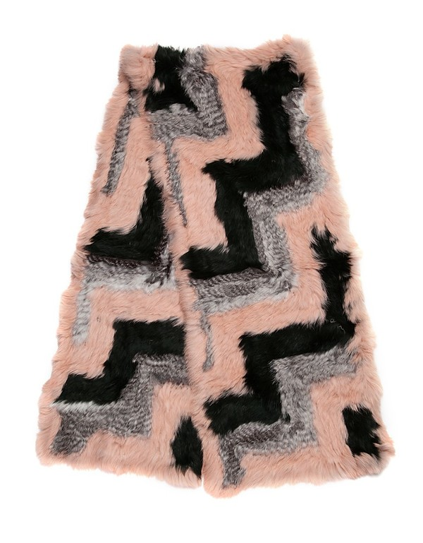 C/Fan Jeffrey Scarf, Dusty Pink/Grey/Forest Green