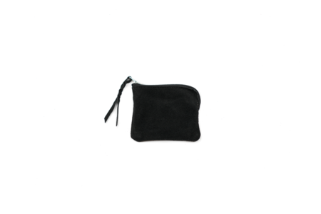MAPLE HALF ZIP WALLET (SUEDE) - BLACK