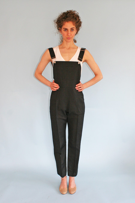 HORSES ATELIER CROPPED HIGH-WAISTED OVERALLS