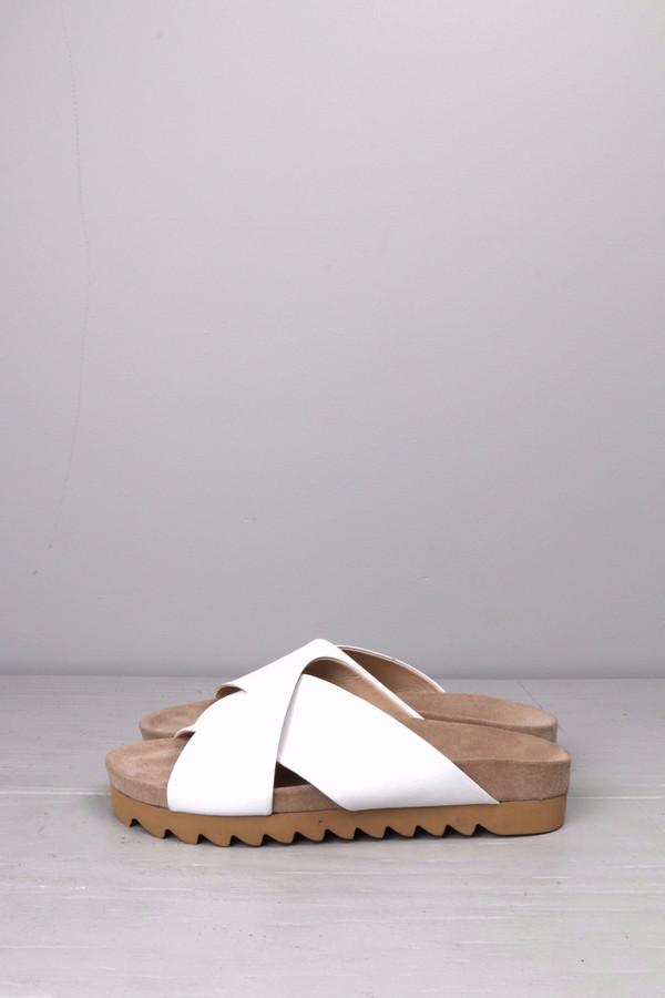 L'agence Cross Sandal White Leather