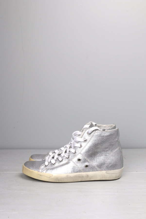 Leather Crown Silver High Top