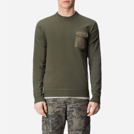 Woolrich John Rich & Bros. Military Cotton Crew Neck Sweater - Fishing Green