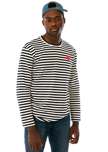 Comme des Garçons-PLAY Striped T-Shirt - Red Heart