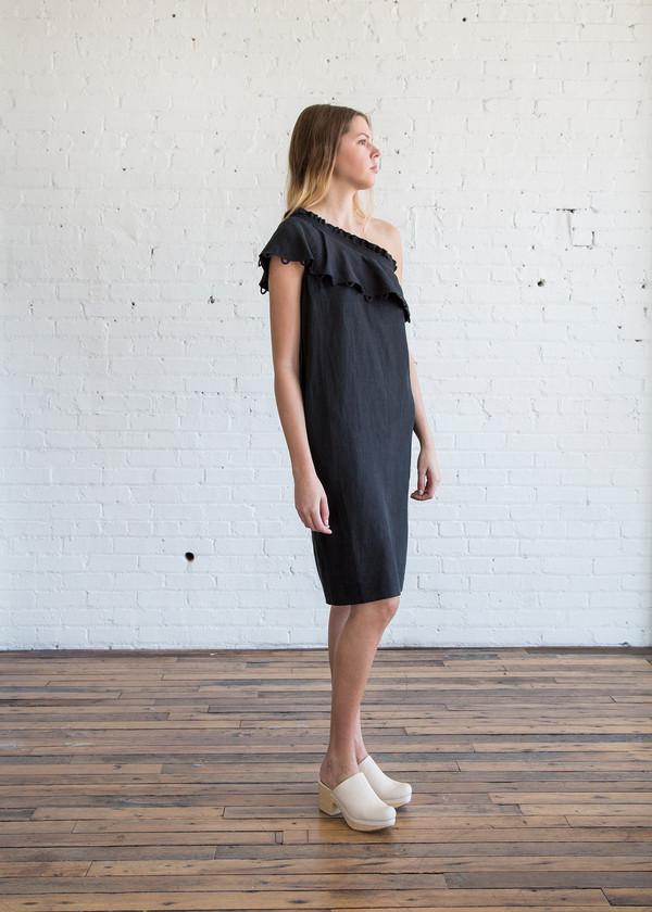 Apiece Apart Reina One-Arm Ruffle Dress Black