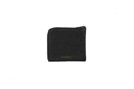 Stampd Leather Matte Black Zip Wallet