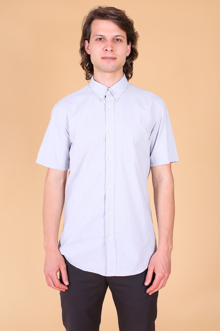 Steven Alan Short Sleeve Cadet Shirt In Pewter