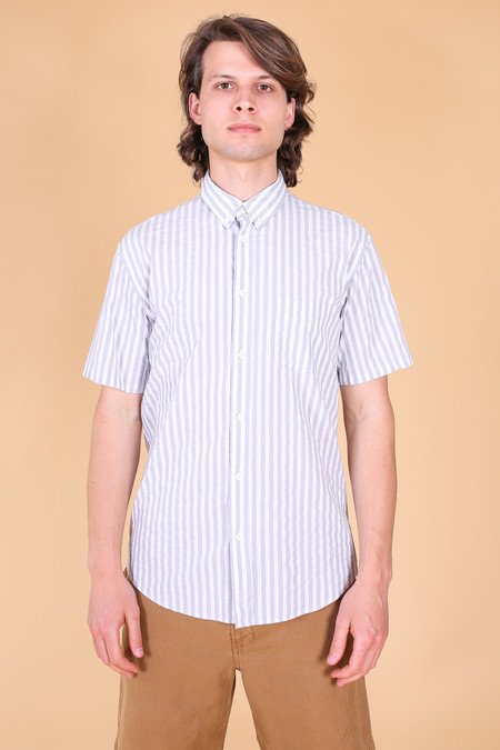 Steven Alan Short sleeve cadet shirt in pewter stripe