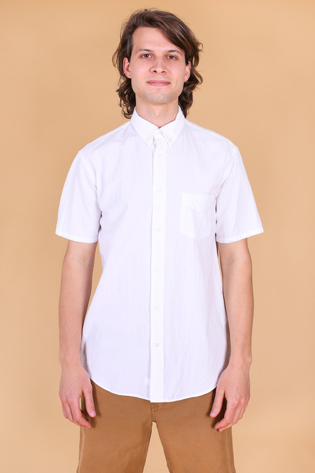 Steven Alan Short Sleeve Cadet Shirt In White