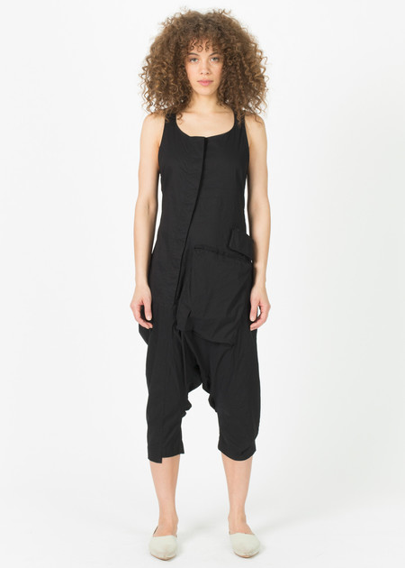 Rundholz Asymmetric Button-Down Sleeveless Jumpsuit