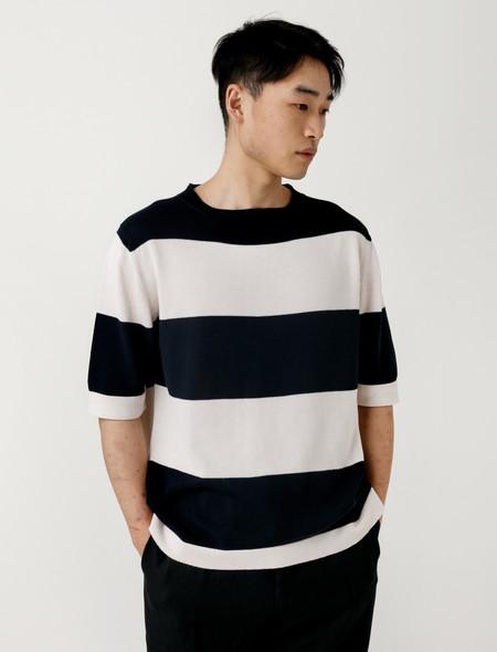 Margaret Howell Bold Stripe Cotton Linen S/S Sweater