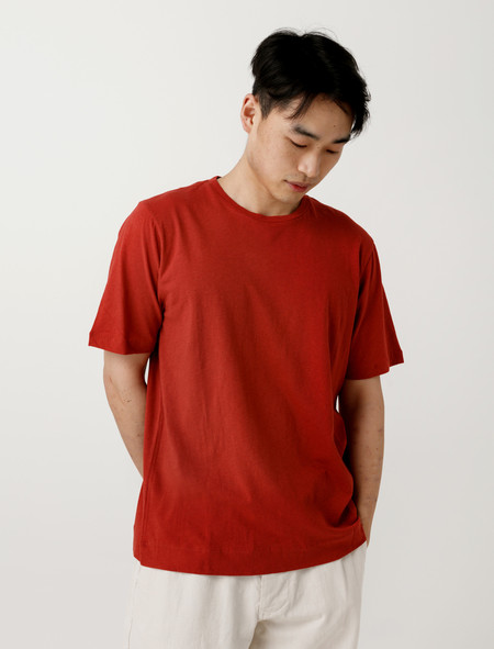 Margaret Howell MHL Basic T-Shirt Cotton Linen Faded Red