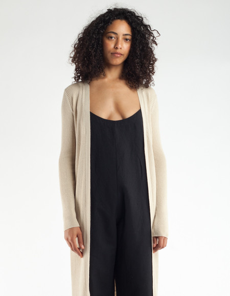 Ali Golden Ribbed Cardigan Natural