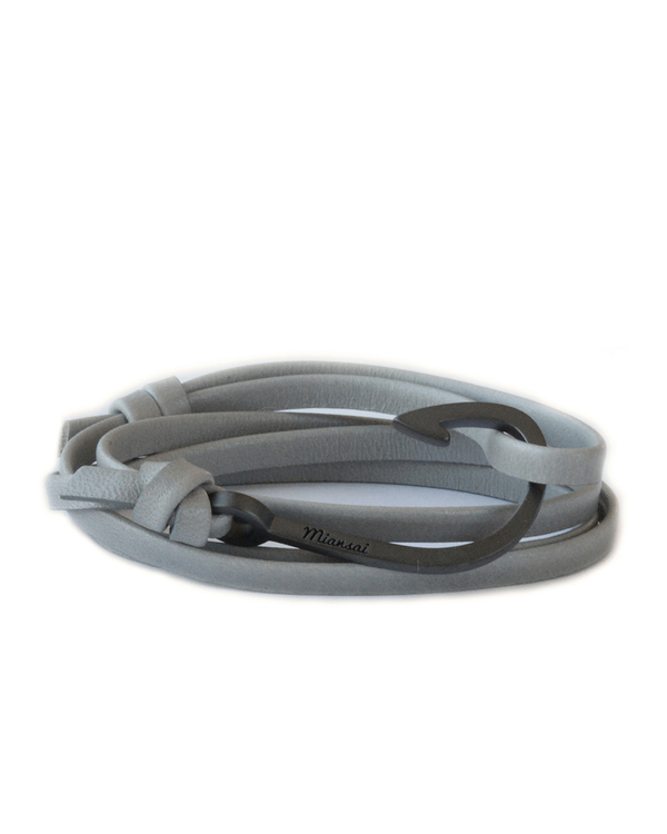 Miansai Black Fish Hook And Grey Leather Wrap Bracelet