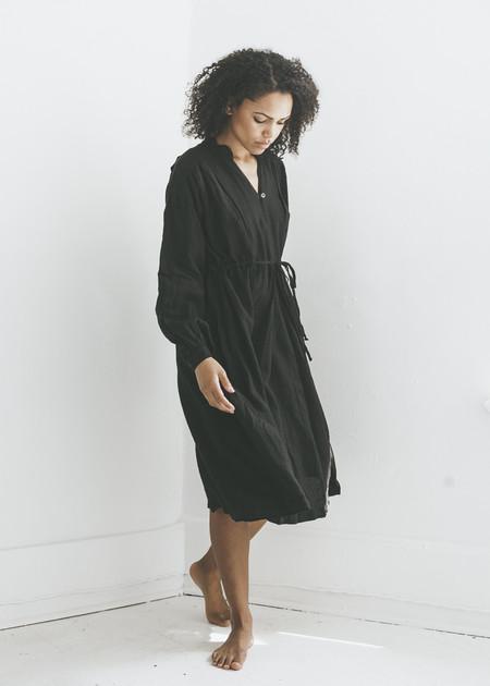 Black Crane Poet Dress in Black