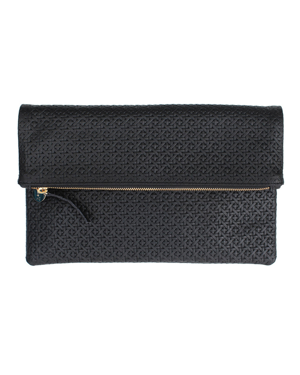 Clare Vivier Foldover Clutch in Black Rattan Textured Leather