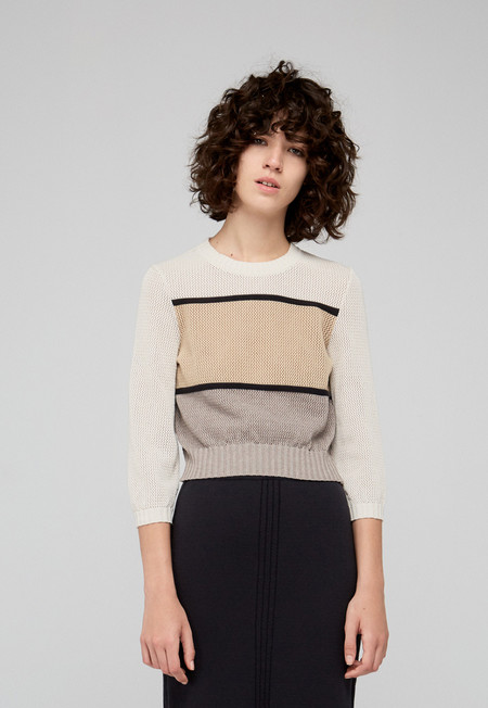 "Diarte ""Elio"" Cropped Cotton Colorblock Sweater"