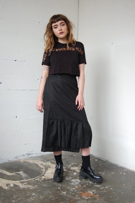 Alexa Stark linen gathered wrap skirt