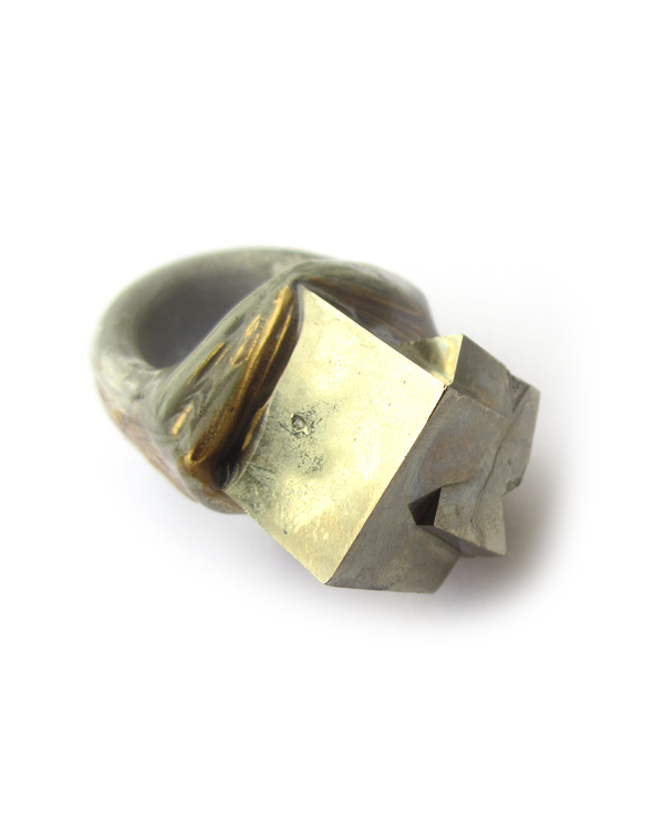 Adina Mills The Align Pyrite Cube Ring