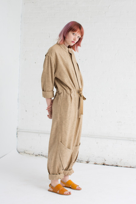 Unisex Electric Feathers Shoplifter Jumpsuit in Jute