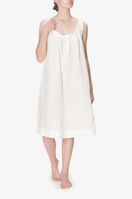 The Sleep Shirt Sleeveless Nightie White Tuscan Linen