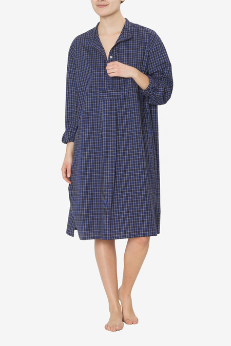 The Sleep Shirt Long Sleep Shirt Plaid Poplin in Blue and Black