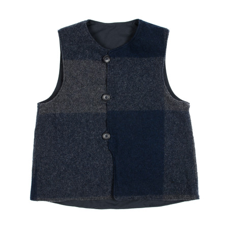 Engineered Garments Over Vest - Navy Nyco Ripstop/Big Plaid Melton