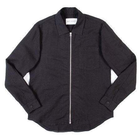 Our Legacy Zip Shirt - Washed Black Linen