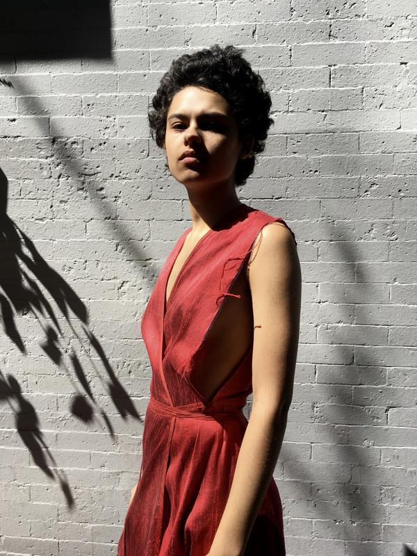 Alexa Stark Red Silk Wrap Dress