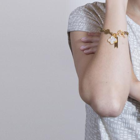 Marijke Bouchier Brass Clover with Clover Charm Bracelet