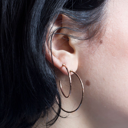 Mikel Grant Jewellery Hammered Hoop Studs Rose Gold