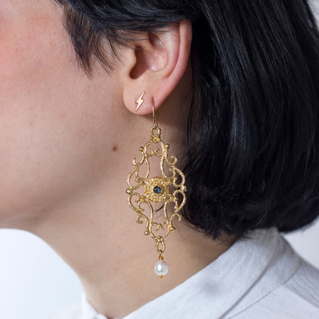Sarah De Gasperis Marquis Earrings with Sapphire and Pearls