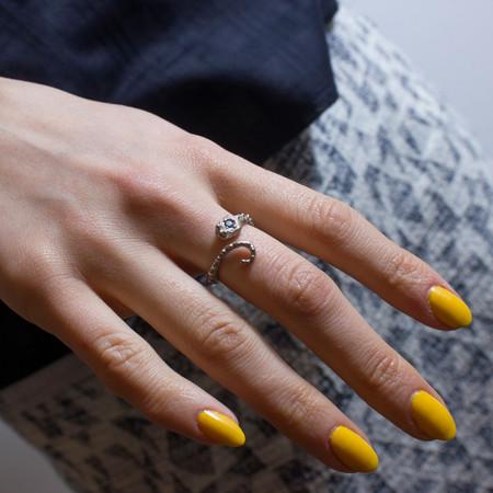 Sarah De Gasperis Octopus Snake Ring with Blue Sapphire