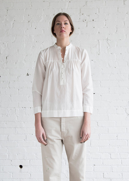 Raquel Allegra  Edwardian 3/4 Sleeve Top White